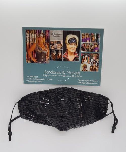 Face Mask Black Sequins (sku5937) *Final Sale*