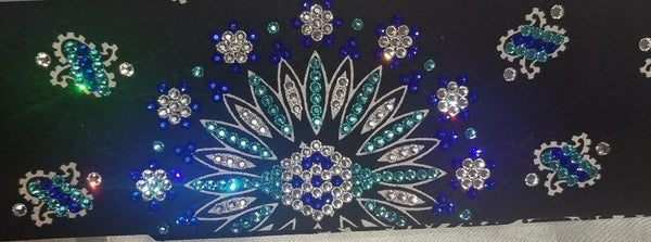 LeeAnnette Bandana with Blue, Turquoise and Diamond Clear Swarovski Crystals