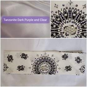 White Paisley with Dark Purple, Light Purple and Diamond Clear Swarovski Crystals (Sku2017)