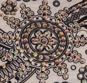 Stretchy White with Black Sun Swirl Headband with Aurora Borealis Crystals (Sku5018)