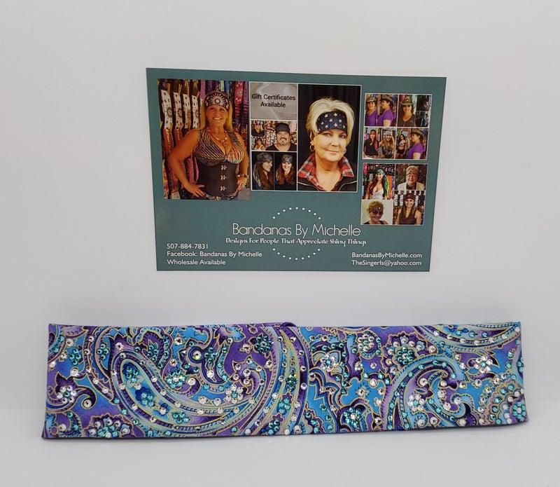 Narrow Purple and Turquoise LeeAnnette Bandana (sku4936)