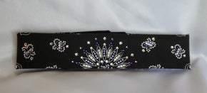 Narrow Black Paisley with Dark Purple, Light Purple and Diamond Clear Swarovski Crystals (Sku2073)