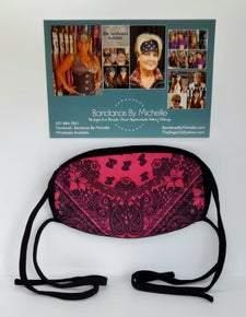 Pink and Black Paisley Design Face Mask *Final Sale* (Sku5913)