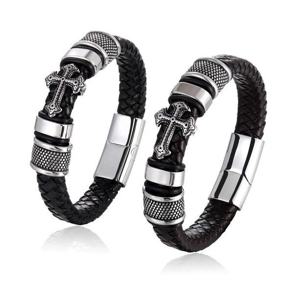 Black Leather Cross Bracelet MEDIUM size (sku8328)