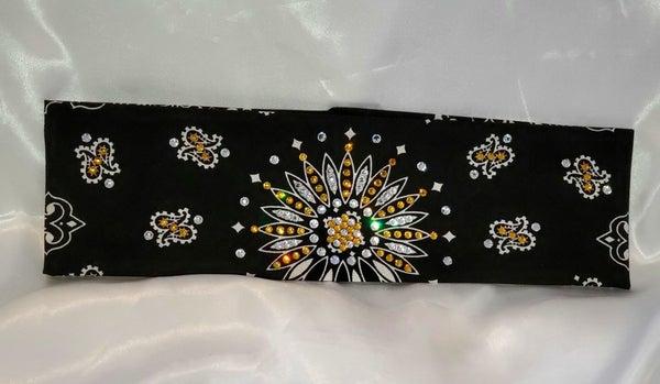 Black Paisley With Yellow and Diamond Clear Swarovski Crystals (Sku1936)