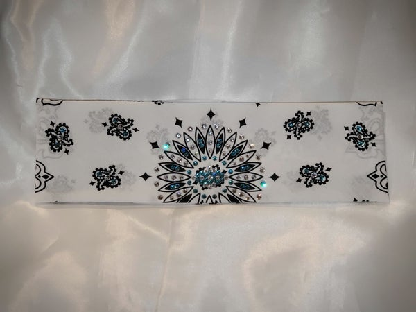 White Paisley with Turquoise and Diamond Clear Swarovski Crystals (Sku2009)