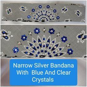Narrow Silver Paisley with Dark Blue and Diamond Clear Swarovski Crystals (Sku2112)
