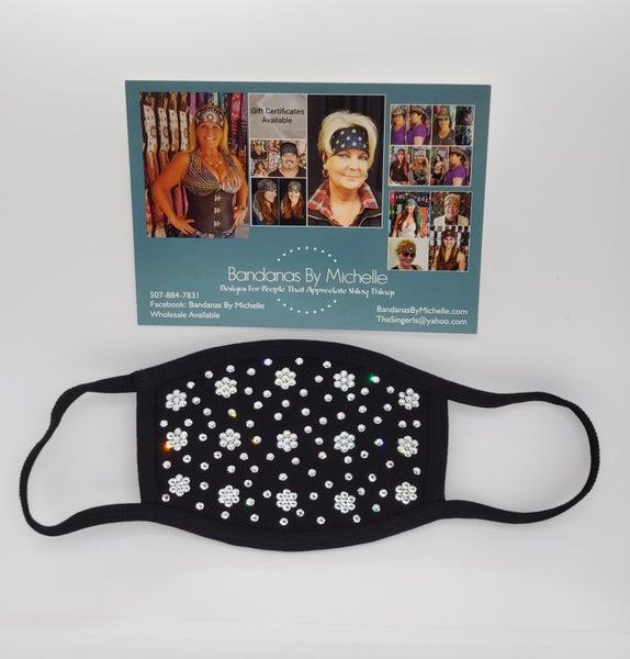 Face Masks EXTRA BLING Floral Pattern Clear  Crystals *Final Sale* (Sku5909)