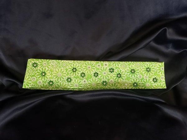 Narrow Green Daisy with Dark Green and Diamond Clear Swarovski Crystals (Sku1103)