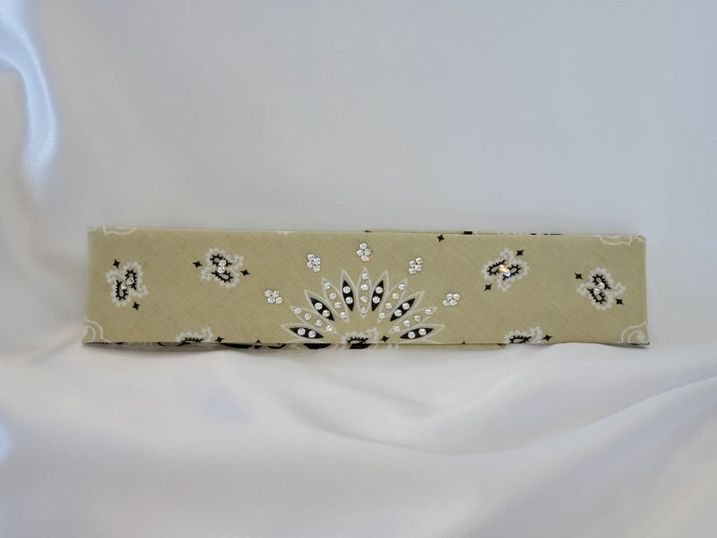 Tan Paisley with Diamond Clear Crystals (Sku8048)