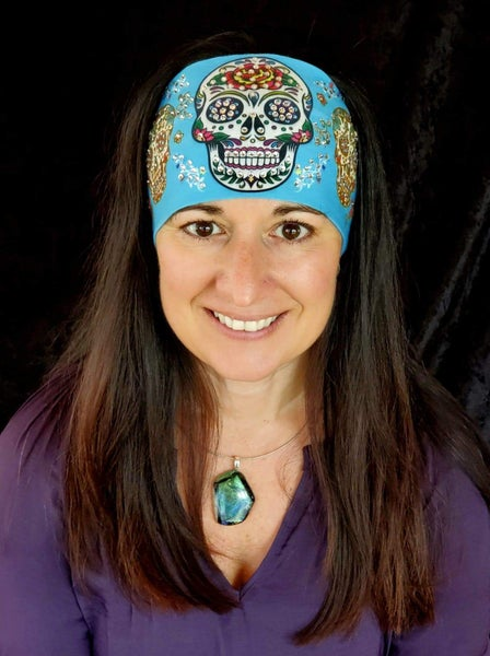 Stretchy Light Blue Triple Sugar Skull Headband with Aurora Borealis Crystals (Sku5086)