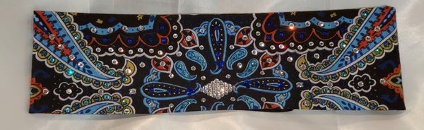 Blue Indian Design Bandana with Blue, Turquoise and Diamond Clear Swarovski Crystals (Sku1407)