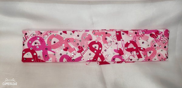 Narrow Breast Cancer Bandana with Fuchsia and Aurora Borealis Swarovski Crystals (Sku1431)
