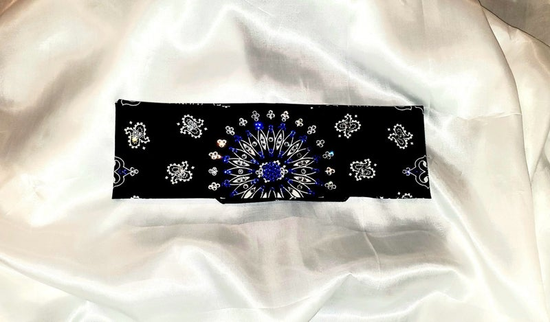 EXTRA BLING - Black Paisley With Blue and Diamond Clear Swarovski Crystals (Sku4600)