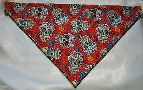 Large Doggy Dana Sugar Skulls on Red with Crystals