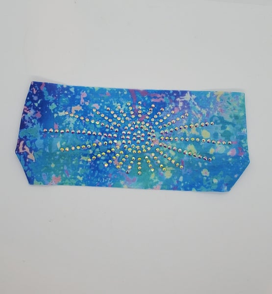 Stretchy Headband Pastel Blues & Pinks with Aurora Borealis Crystals (Sku5136)