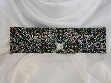 Mint Green Indian with Light Green, Light Blue and Diamond Clear Swarovski Crystals (Sku1073)