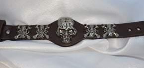 Brown Adjustable Leather Skull Motor Wrench UNISEX Bracelet (sku8326)