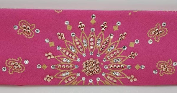 Gold Paisley on Pink with Rose Gold and Diamond Clear Swarovski Crystals (Sku2507)