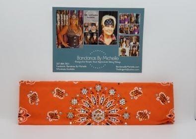 LeeAnnette Orange Paisley with Orange and Diamond Clear Swarovski Crystals (Sku4259)