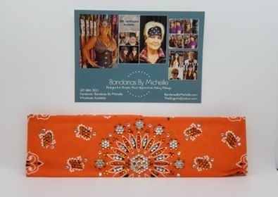 LeeAnnette Orange Paisley with Orange and Diamond Clear Swarovski Crystals (Sku4259)