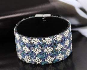Elegant Synthetic Leather Blue and White Stone Wrap Bracelet (Sku8310)