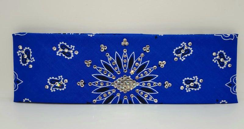 Blue Paisley with Diamond Clear Swarovski Crystals (Sku2053)
