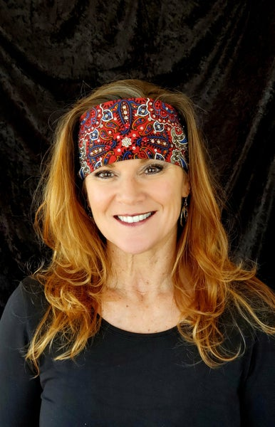 Red Indian Style Bandana with Red and Clear Swarovski Crystals (Sku1202)
