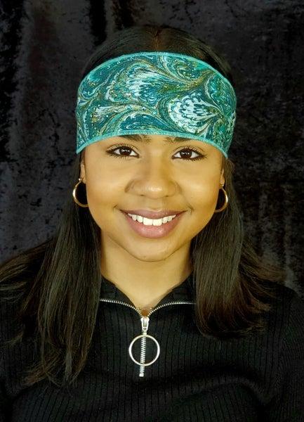 Turquoise Oil Slick Headband with Light Blue and Light Green Swarovski Crystals (Sku5557)
