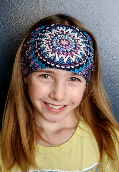 Stretchy Headband Pink and Blue Medallion with Aurora Borealis crystals (sku5037)