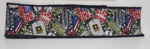 Army Headband Strip with Swarovski Crystals (Sku5537)