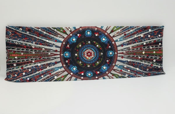 Long Black Feather Multi Colored Swarovski Crystal Scarf with Red and Diamond Clear Center design (Sku3025)