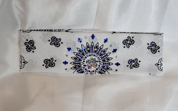 White Paisley with Blue and Diamond Clear Swarovski  Crystals (Sku2024)
