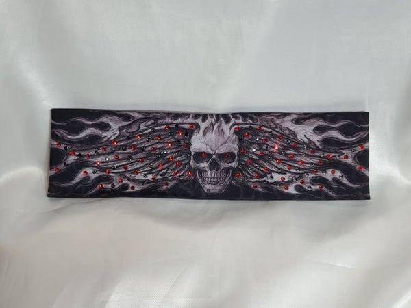 Wing Skull with Red and Black Swarovski Crystals (Sku1556)