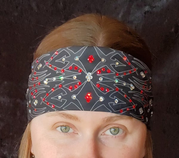 Tribal Bandana with Red and Clear Crystals (Sku1671)