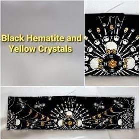 Spider Web Skull with Yellow and Black Swarovski Crystals (Sku1658)