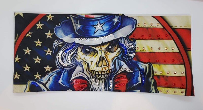 Uncle Sam Skull with Red, Blue, Rose Gold and Diamond Clear Swarovski Crystals (Sku9303)