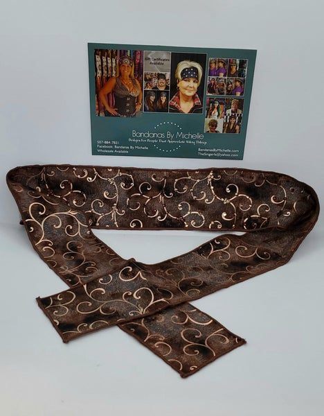 Chocolate Copper Scroll Headband Strip with Brown and Rose Gold Swarovski Crystals (Sku5531)
