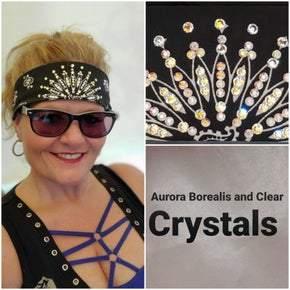 Narrow Black Paisley with Aurora Borealis and Clear Diamond Colored Swarovski Crystals (Sku2076)