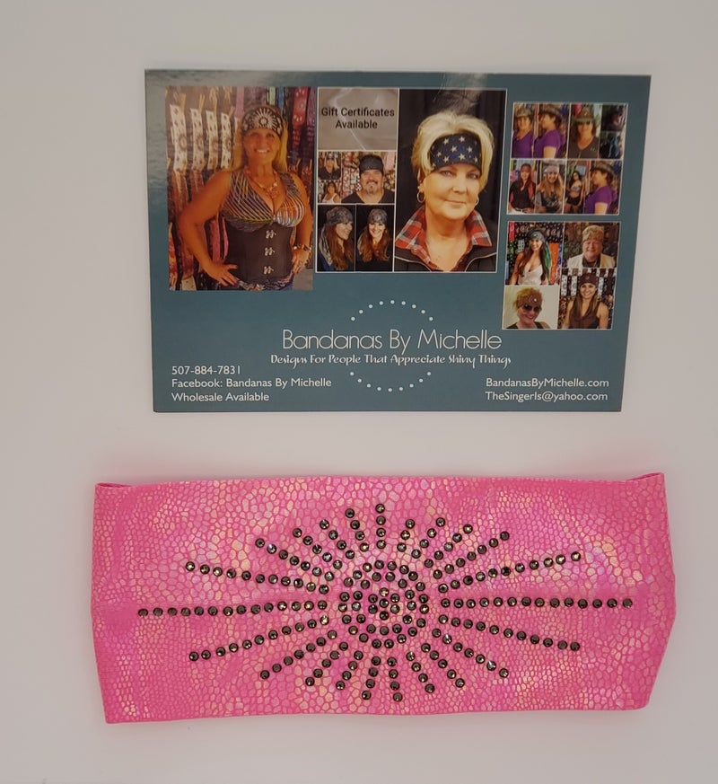 Bright Pink Iridescent Mermaid Design Stretchy Headband with Black Silver Crystal Rhinestones