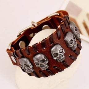 UNISEX Brown leather skull adjustable bracelet (sku8323)