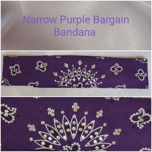 Bargain Bandana Narrow Purple with Diamond Clear Crystals