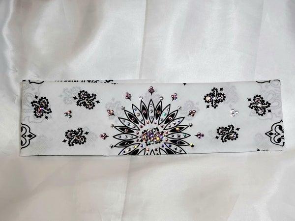 White Paisley with Light Pink and Diamond Clear Swarovski Crystals (Sku2008)