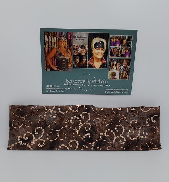 LeeAnnette Chocolate Copper Scroll with Brown and Rose Gold Swarovski Crystals (Sku4303)