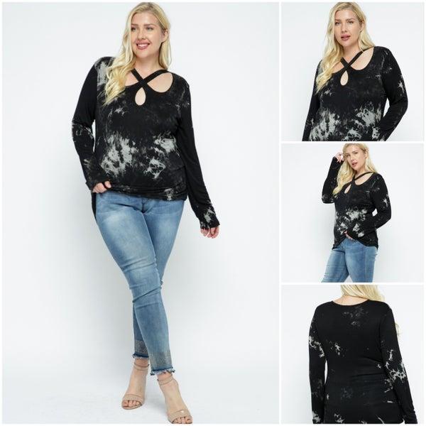 Plus Size Black and Grey long sleeve crisscross Shirt with rhinestones (1812PBGL)