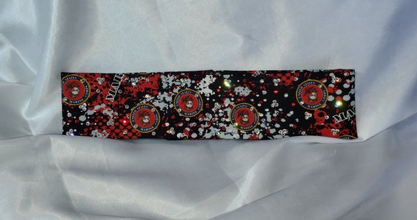Narrow Marines Bandana with Red and Clear Swarovski Crystals (Sku1811)