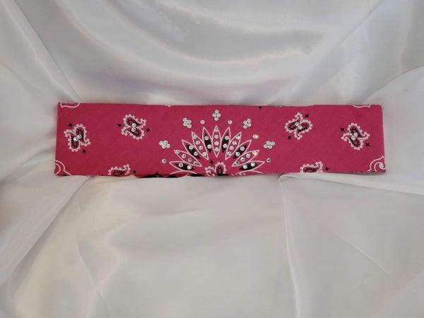 Bargain Bandana Narrow Pink Mauve with Diamond Clear Crystals (Sku8034)