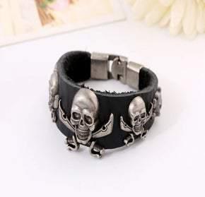 UNISEX Soft Black Leather Pirate Skulls Bracelet (sku8318)
