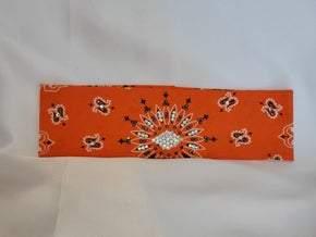 Orange Paisley With Jet Hematite and Diamond Clear Swarovski Crystals (Sku2191)