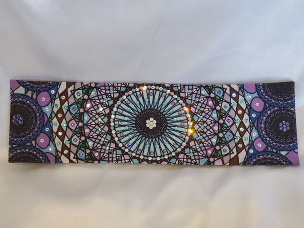 Purple Blue Kaleidoscope Bandana with Light Blue, Light Purple and Diamond Clear Swarovski Crystals (Sku1121)
